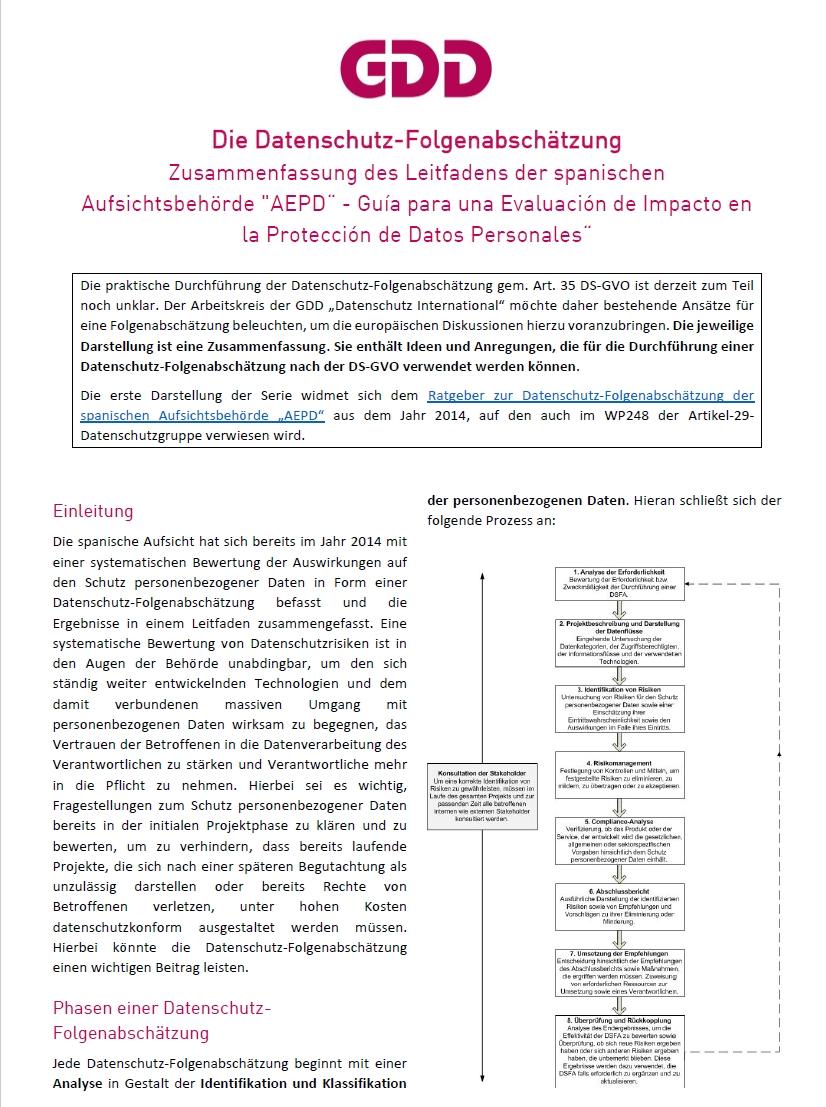 Zusammenfassung Datenschutz-Folgenabschätzung AEPD